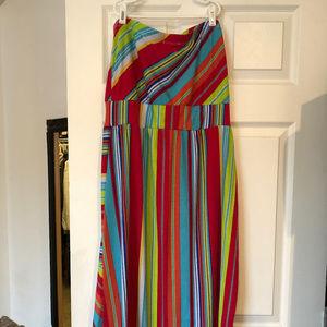 Strapless Multi-colored Maxi Dress
